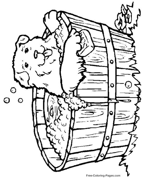 animal coloring pages dog  bath coloring animals
