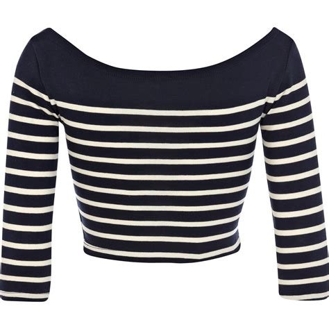 river island blue and white placement stripe crop top in