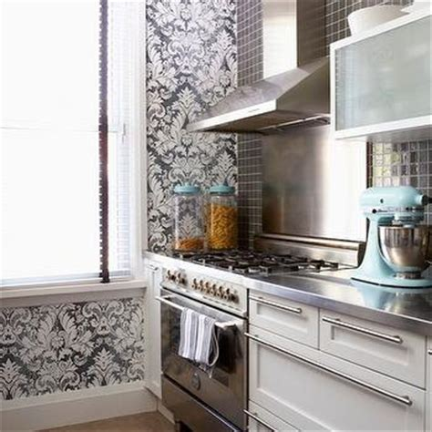cameron macneil modern off white kitchen design with soft gray damask wallpaper transitional kitchen caitlin