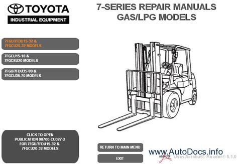 Toyota 7 Series Forklift Manual Toyota Forklift 7 Series Gas Lpg Electric Models Service