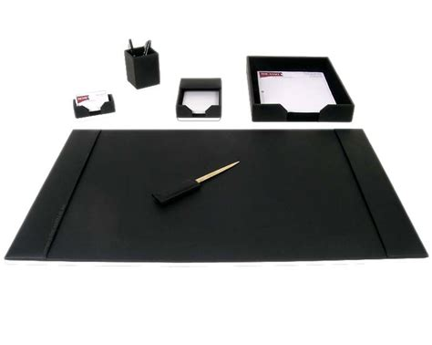 Black Leather Desk Accessories D1401 Black Bonded Leather 6 Desk Set