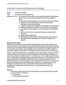 experimental design lesson scientific process and experimental design lesson plan for