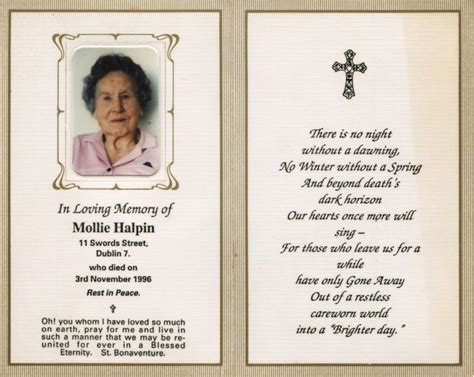 template for a memory card for a funeral in memoriam quotes for quotesgram