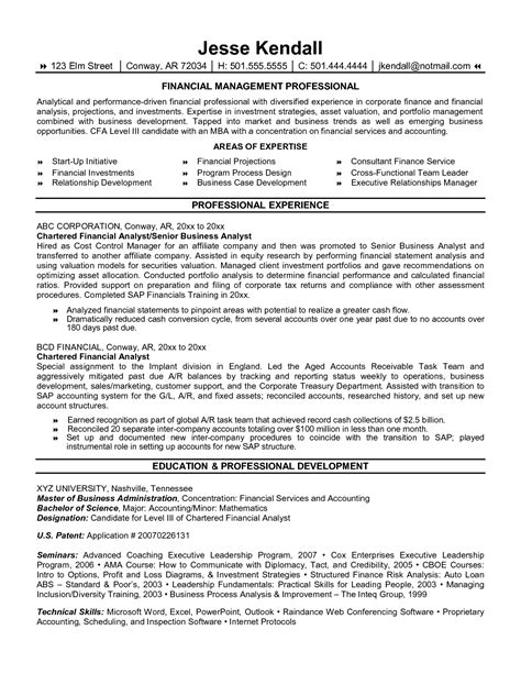 free resume sles financial analyst resume financial management professional analyst