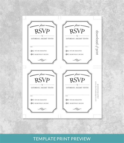 rsvp card template 2 per sheet vintage type wedding invitation bundle print