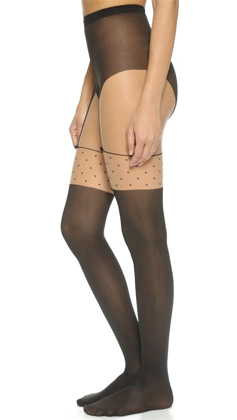 Wolford Suspender Tights lyst wolford tights black in brown
