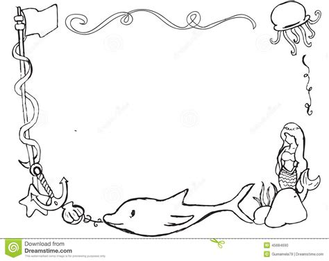 Ocean Border Coloring Page | free ocean border coloring pages