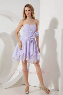 cute lilac bridesmaid dress for junior with bow design