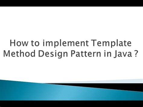 design pattern in java youtube how to implement template method design pattern in java