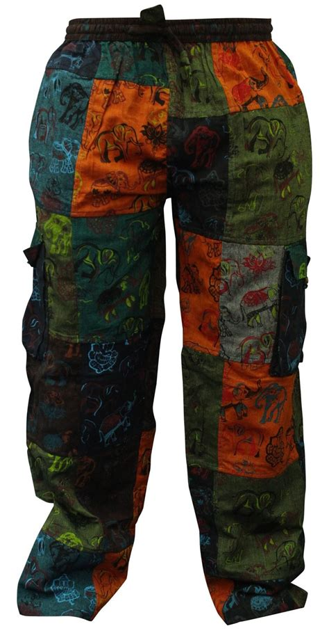Patchwork Trousers - mens summer hippie cargo pockets combat trousers patchwork