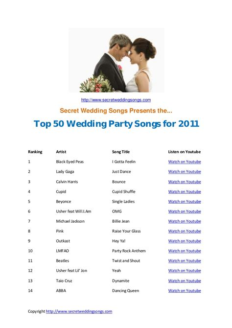 Wedding Songs For by Top 50 Wedding Songs For 2011