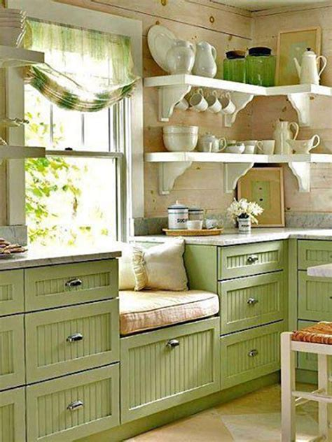 kitchens with shelves green green country kitchen