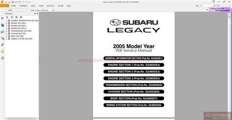 Subaru Legacy 2005 Model Year Auto Repair Manual Forum
