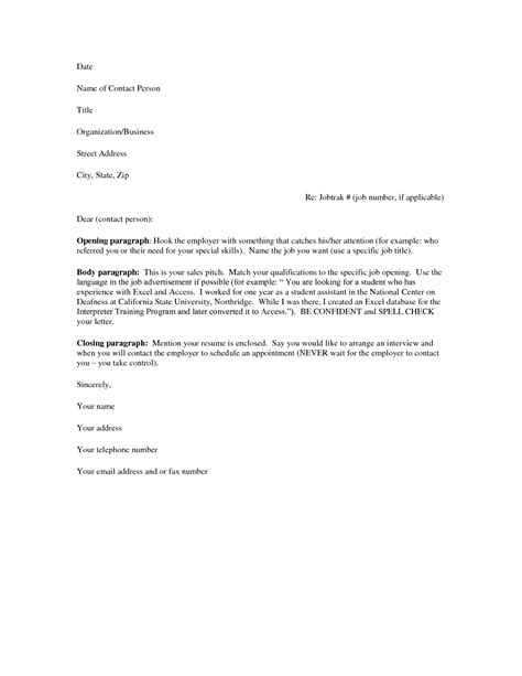 Resume Letters by Basic Cover Letter For A Resume