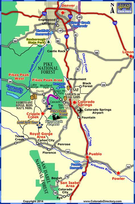 map of colorado cities near denver colorado springs map toursmaps