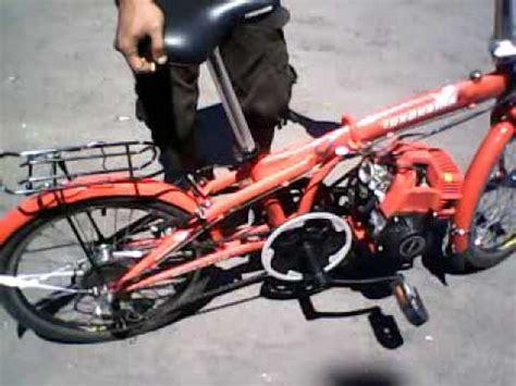Sepeda Dengan Mesin Potong Rumput sepeda lipat modif mesin 4tak run