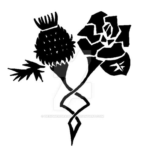 rose and thistle tattoo designs black thistle and stencil by designerdragon