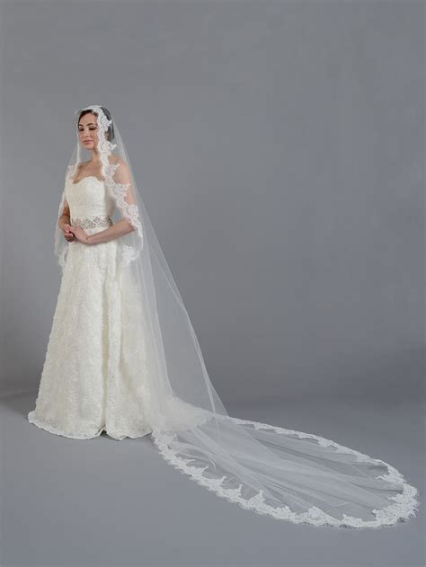 Lace Wedding Veil ivory cathedral alencon lace wedding veil v033c