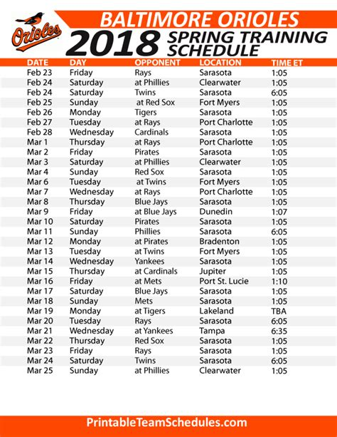 printable orioles tickets printable baltimore orioles spring training schedule 2018