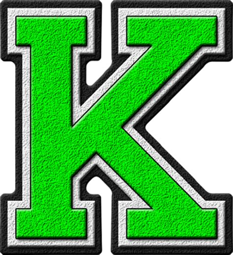 College With Letter K Presentation Alphabets Green Varsity Letter K