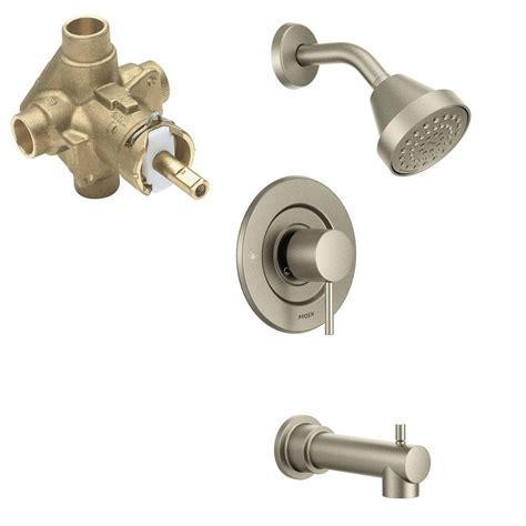 Tub And Shower Faucets Brushed Nickel by Moen Align 1 Handle 1 Spray Positemp Tub And Shower Faucet