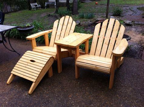 Custom Handmade Wood Furniture - adirondack chair set with table furst woodworks