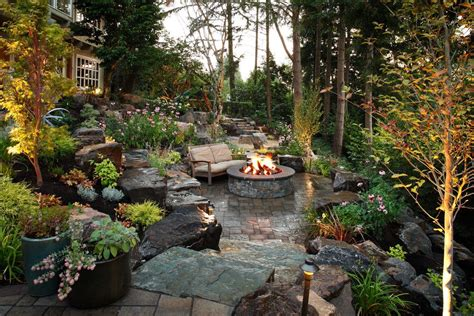 Boulder fire pit landscape traditional with boulders bowls and pits