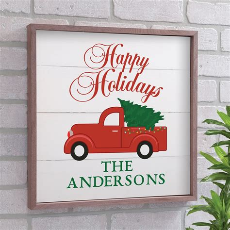 merry christmas  happy holidays red truck wood pallet wall dcor