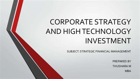 Corporate Strategy Mba by Corporate Strategy And High Technology Investment