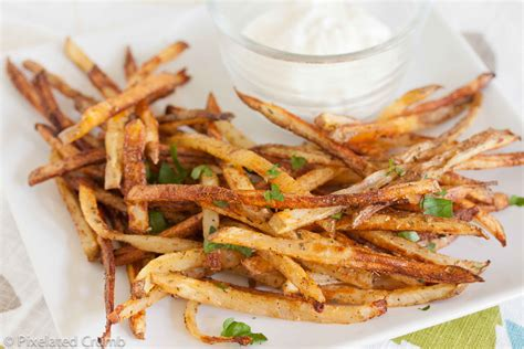 Healthy Fries Garlic oven baked garlic fries with garlic aioli pixelated crumb