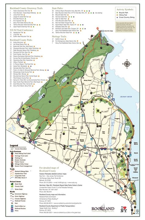 map of rockland county new york rockland county hiking biking trails maplets