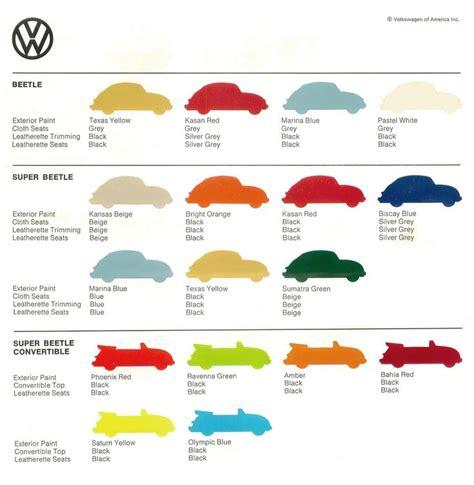volkswagen beetle colors vw beetle color sheet 1973 volkswagen of america via