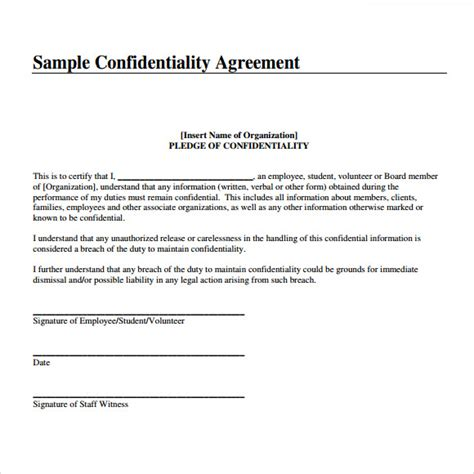 non disclosure agreement template free confidentiality agreement template 9 free