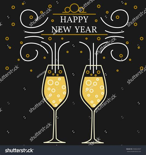 happy new year greeting card eps10 vector chagne