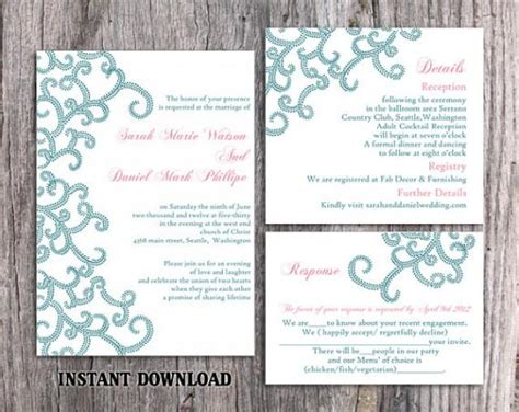 Diy Bollywood Wedding Invitation Template Set Editable Word File Instant Download Blue Wedding Editable Indian Wedding Invitation Templates Free