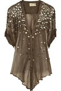 Elizabeth and jamestokyo silk chiffon embellished blouse