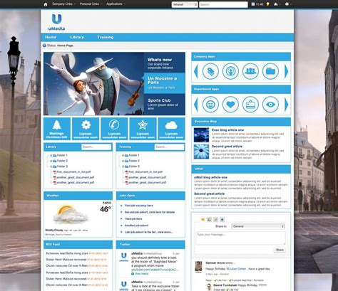 Umedia The Background Image Is Striking And The Rest Of The Design Can Be Kept Very Simple Best Intranet Template