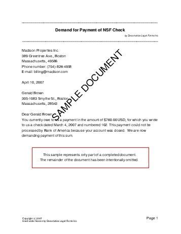 Letter Of Agreement To Pay Back Money Demand For Payment Of Nsf Check Australia Templates Agreements Contracts And Forms