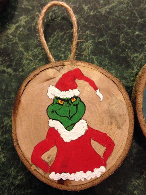 Wooden Ornament grinch wood slice ornament painted wood slice