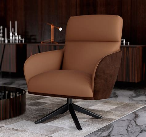 modern lounge brown chair with ottoman ml