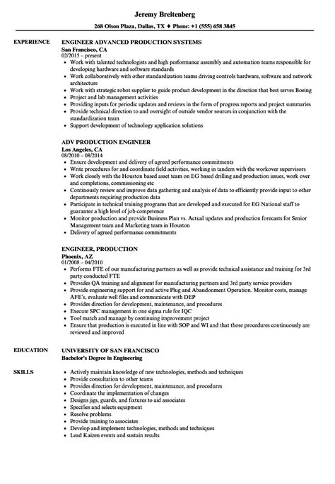 resume format for production engineers engineer production resume sles velvet