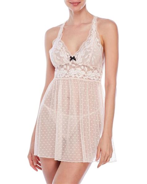 betsey johnson two lace babydoll set in pink lyst