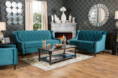 Teal Living Room Furniture Limerick Teal Living Room Set Sm2882 Sf Furniture