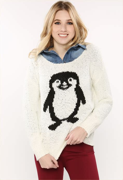 graphic knit sweaters penguin graphic knit sweater shop prints at papaya clothing