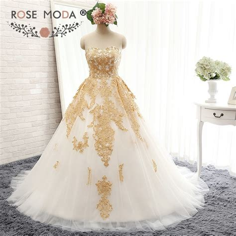 rose moda luxury white  gold wedding ball gown gold