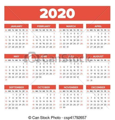 simples, calendário, 2020, ano. semana, simples, começa