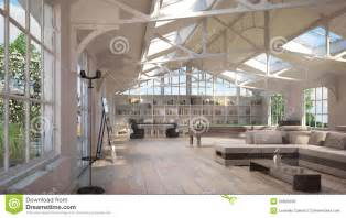 Luxury Loft Interiors, With Old Metal Structure On Ceiling And Special