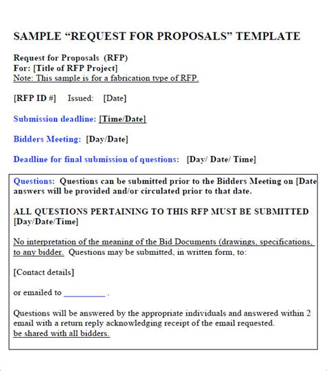 request for proposal template 15 download free