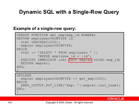 display oracle sql output rows on one single line plsql les06
