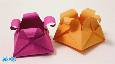 How To Make Paper Basket Origami - how to craft origami basket hellokids